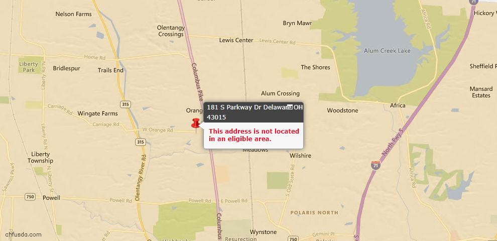 USDA Loan Eligiblity Map - 181 S Parkway Dr, Delaware, OH 43015