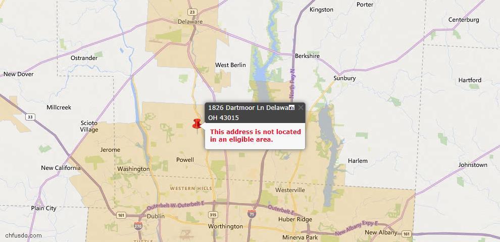 USDA Loan Eligiblity Map - 1826 Dartmoor Ln, Delaware, OH 43015