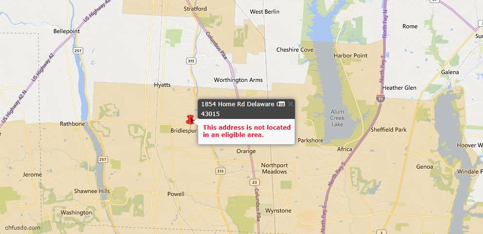 USDA Loan Eligiblity Map - 1854 Home Rd, Delaware, OH 43015