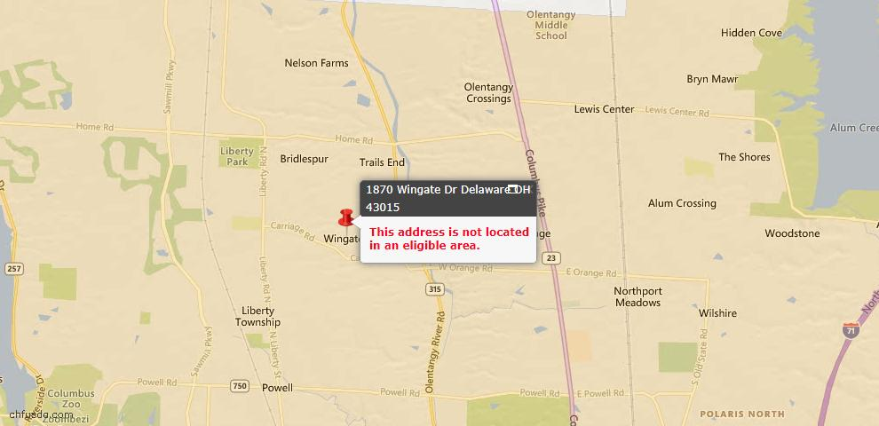 USDA Loan Eligiblity Map - 1870 Wingate Dr, Delaware, OH 43015