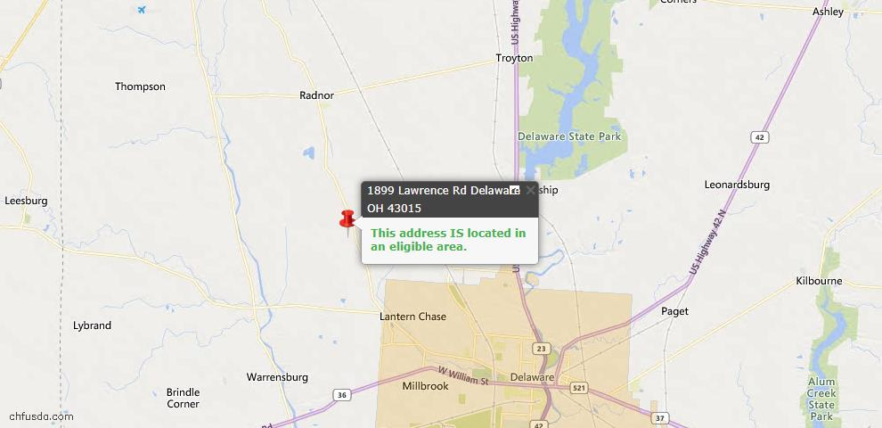USDA Loan Eligiblity Map - 1899 Lawrence Rd, Delaware, OH 43015