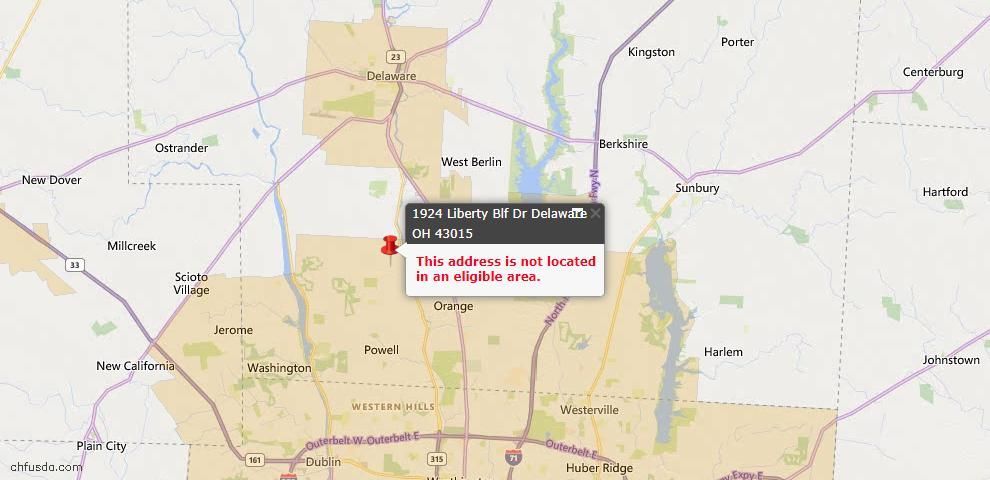 USDA Loan Eligiblity Map - 1924 Liberty Bluff Dr, Delaware, OH 43015