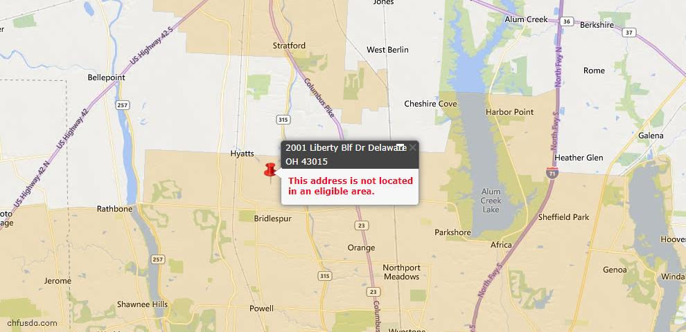 USDA Loan Eligiblity Map - 2001 Liberty Bluff Dr, Delaware, OH 43015