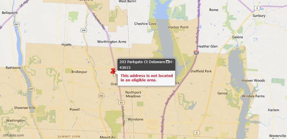 USDA Loan Eligiblity Map - 203 Parkgate Ct, Delaware, OH 43015