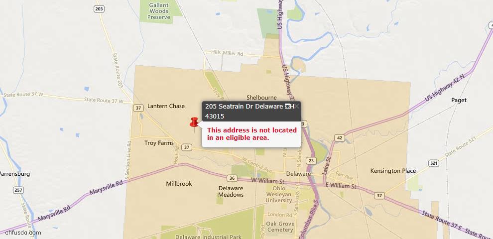 USDA Loan Eligiblity Map - 205 Seatrain Dr, Delaware, OH 43015