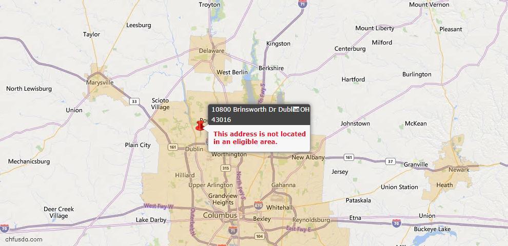 USDA Loan Eligiblity Map - 10800 Brinsworth Dr, Dublin, OH 43016