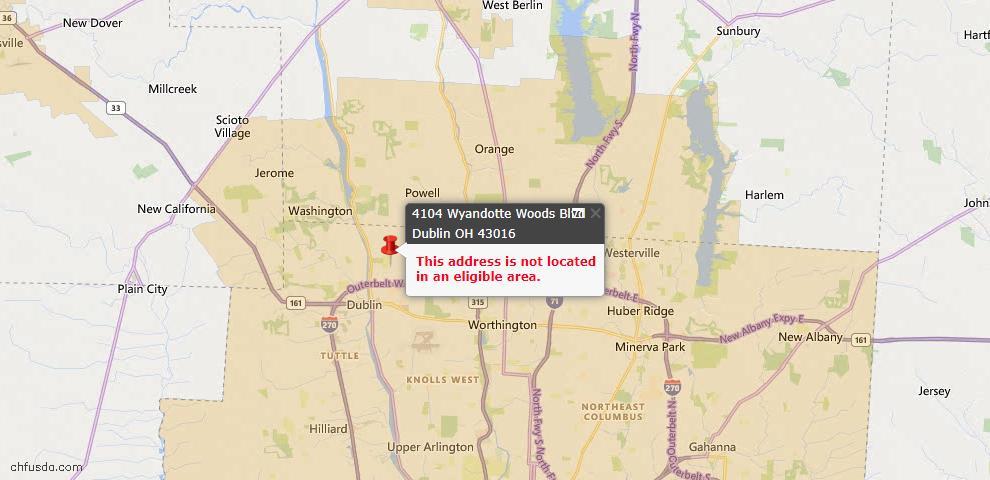 USDA Loan Eligiblity Map - 4104 Wyandotte Woods Blvd, Dublin, OH 43016