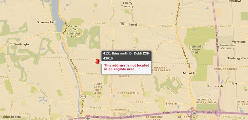 USDA Loan Eligiblity Map - 4131 Brinsworth Dr, Dublin, OH 43016