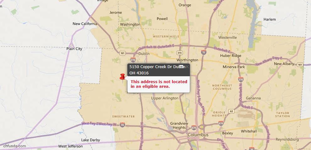 USDA Loan Eligiblity Map - 5150 Copper Creek Dr, Dublin, OH 43016