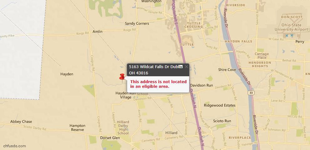 USDA Loan Eligiblity Map - 5163 Wildcat Falls Dr, Dublin, OH 43016