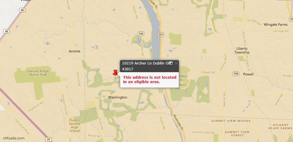 USDA Loan Eligiblity Map - 10219 Archer Ln, Dublin, OH 43017
