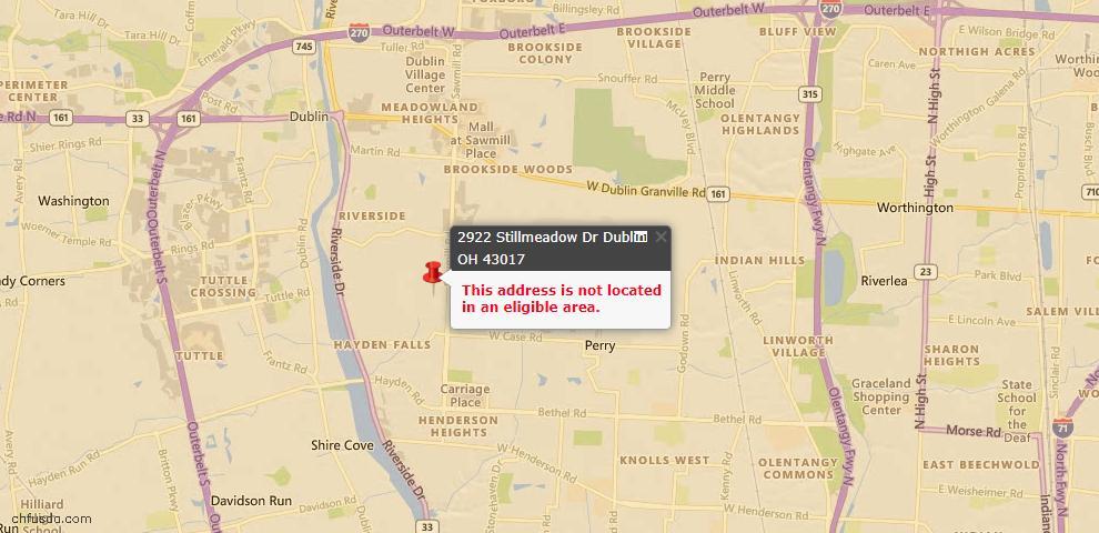 USDA Loan Eligiblity Map - 2922 Stillmeadow Dr, Dublin, OH 43017