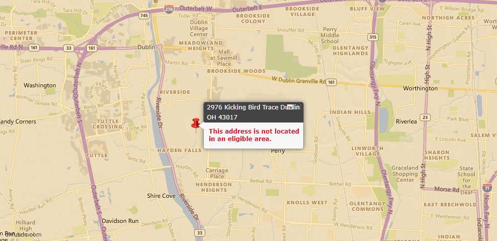 USDA Loan Eligiblity Map - 2976 Kicking Bird, Dublin, OH 43017