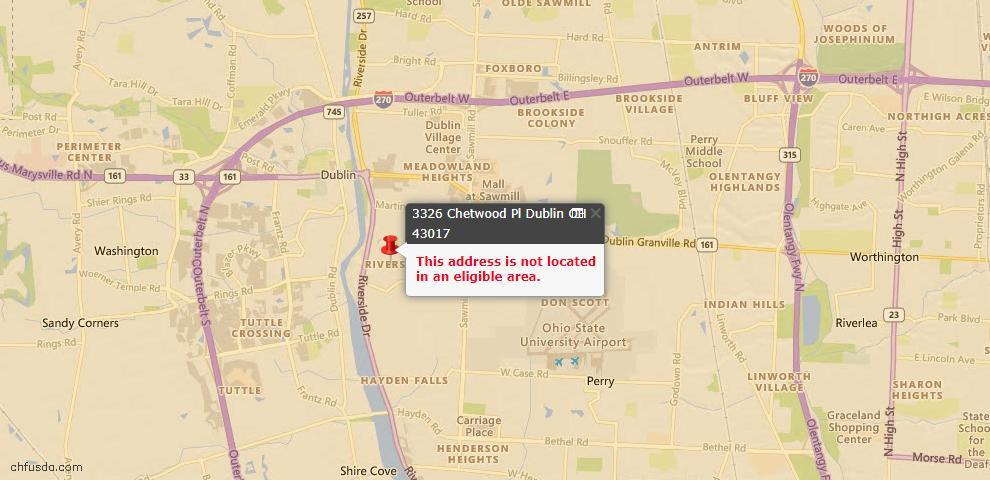 USDA Loan Eligiblity Map - 3326 Chetwood Pl, Dublin, OH 43017