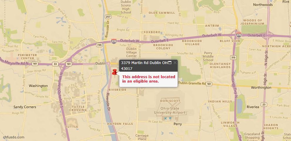 USDA Loan Eligiblity Map - 3379 Martin Rd, Dublin, OH 43017
