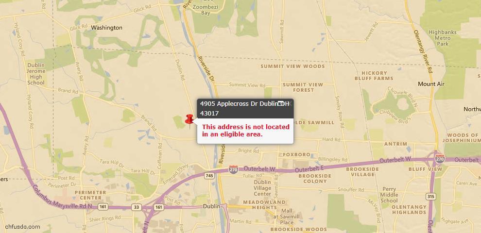 USDA Loan Eligiblity Map - 4905 Applecross Dr, Dublin, OH 43017