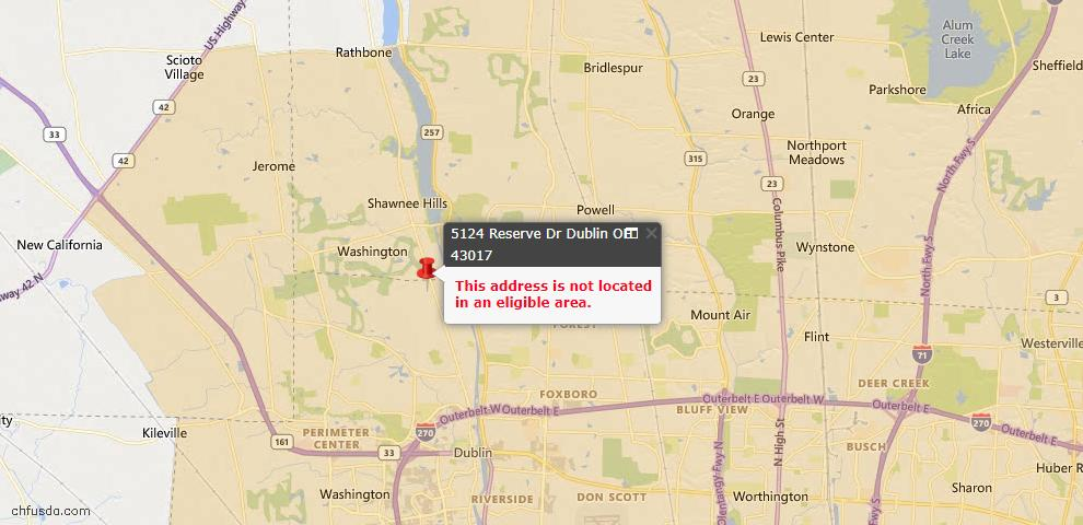 USDA Loan Eligiblity Map - 5124 Reserve Dr, Dublin, OH 43017