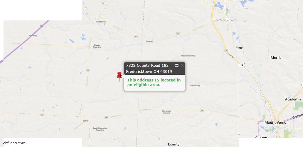 USDA Loan Eligiblity Maps From - Fredericktown, OH