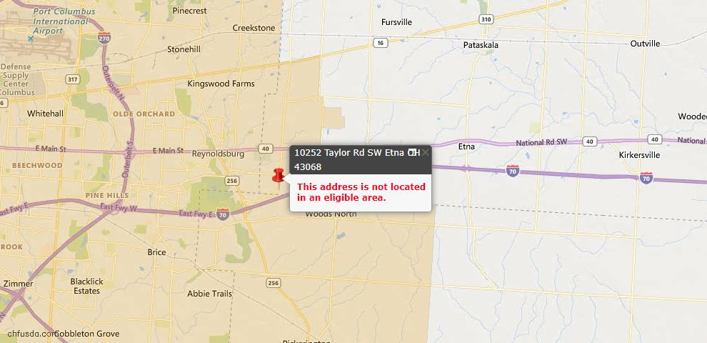 USDA Loan Eligiblity Map - 10252 Taylor Rd SW, Etna, OH 43068