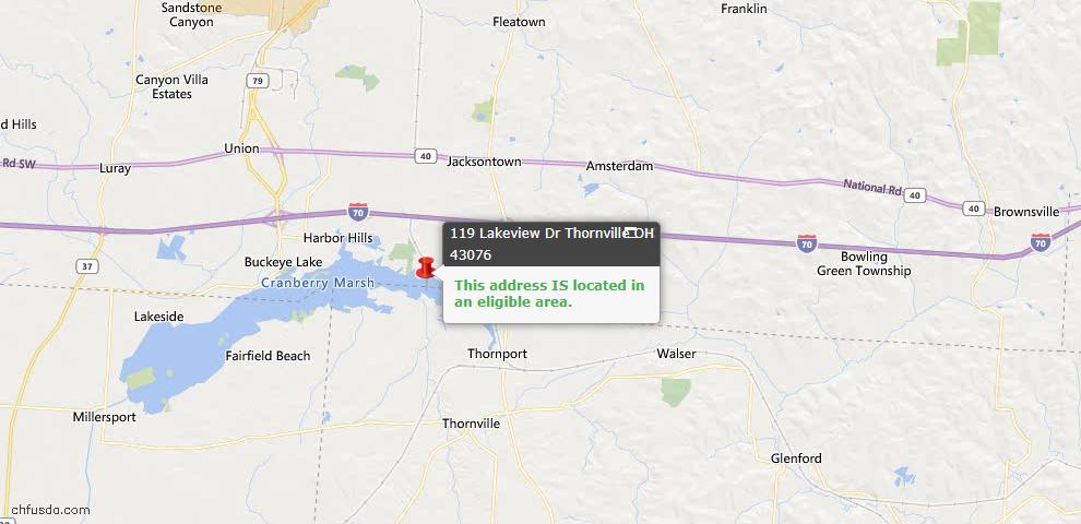 USDA Loan Eligiblity Maps From - Thornville, OH