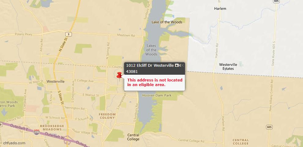 USDA Loan Eligiblity Map - 1012 Elcliff Dr, Westerville, OH 43081
