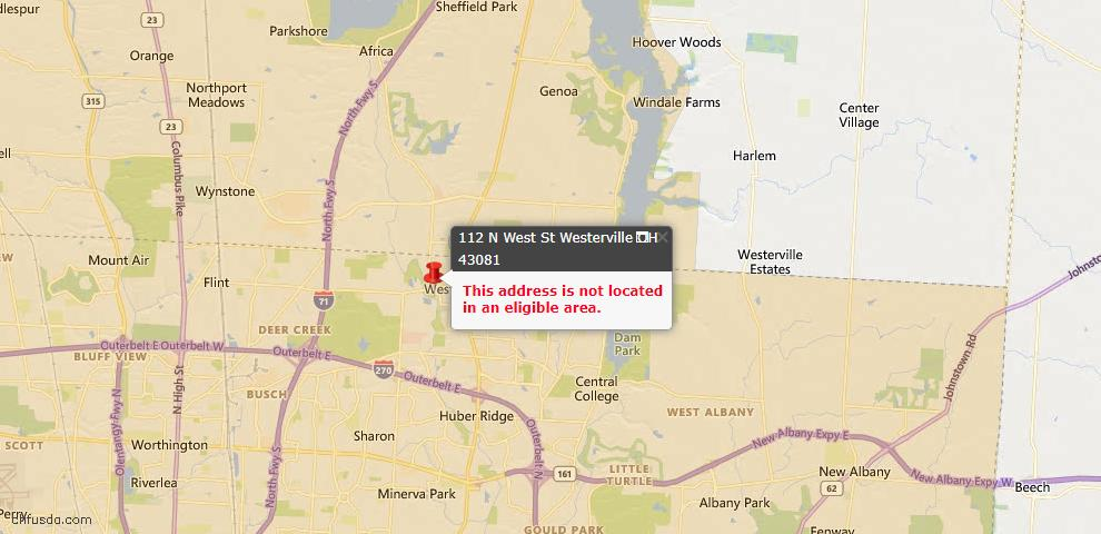 USDA Loan Eligiblity Map - 112 N West St, Westerville, OH 43081