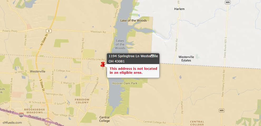 USDA Loan Eligiblity Map - 1194 Springtree Ln, Westerville, OH 43081