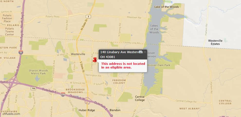USDA Loan Eligiblity Map - 140 Linabary Ave, Westerville, OH 43081