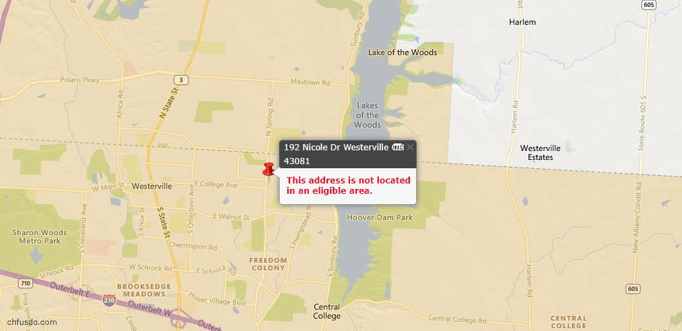USDA Loan Eligiblity Map - 192 Nicole Dr, Westerville, OH 43081