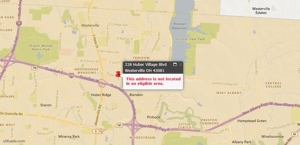 USDA Loan Eligiblity Map - 228 Huber Village Blvd, Westerville, OH 43081