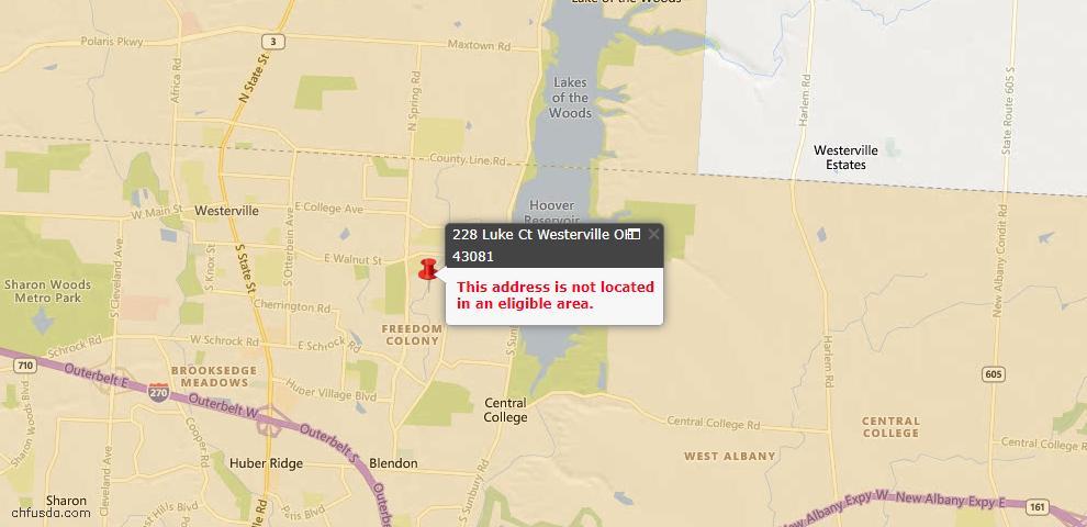 USDA Loan Eligiblity Map - 228 Luke Ct, Westerville, OH 43081