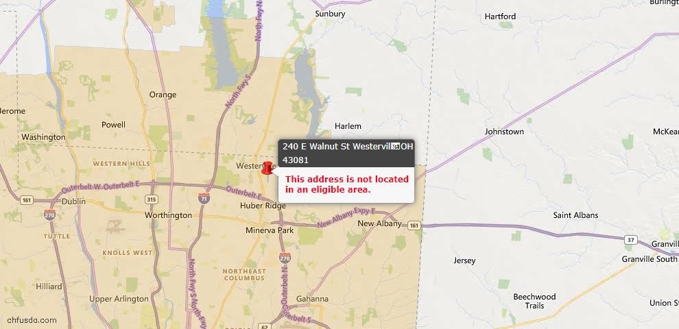 USDA Loan Eligiblity Map - 240 E Walnut St, Westerville, OH 43081