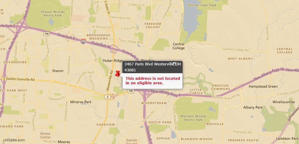 USDA Loan Eligiblity Map - 3467 Paris Blvd, Westerville, OH 43081