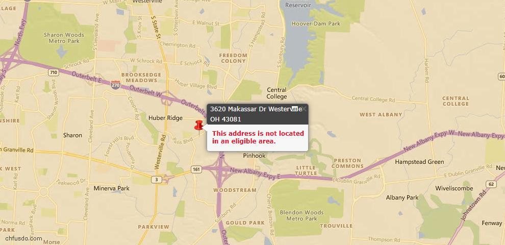 USDA Loan Eligiblity Map - 3620 Makassar Dr, Westerville, OH 43081