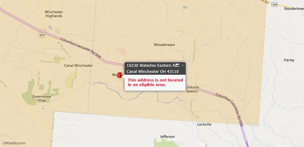 USDA Loan Eligiblity Map - 10230 Waterloo Eastern Rd, Canal Winchester, OH 43110