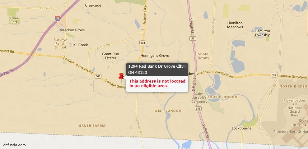 USDA Loan Eligiblity Map - 1294 Red Bank Dr, Grove City, OH 43123