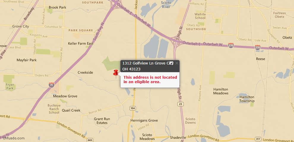 USDA Loan Eligiblity Map - 1312 Golfview Ln, Grove City, OH 43123