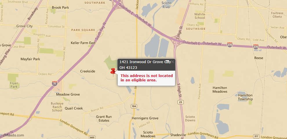 USDA Loan Eligiblity Map - 1421 Ironwood Dr, Grove City, OH 43123