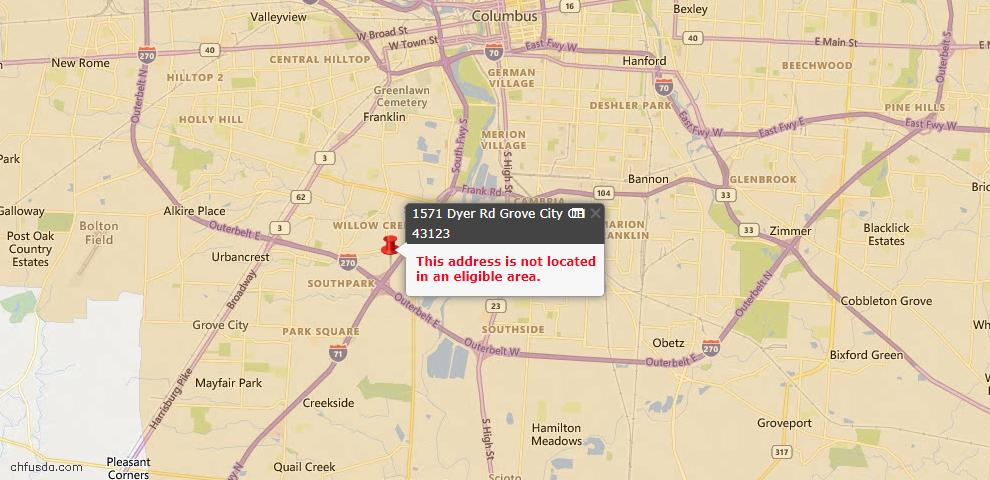 USDA Loan Eligiblity Map - 1571 Dyer Rd, Grove City, OH 43123