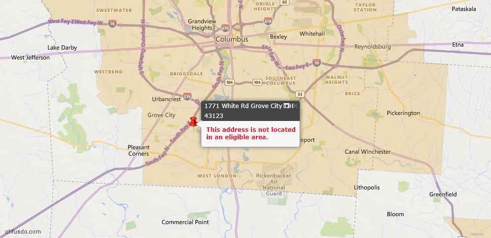 USDA Loan Eligiblity Map - 1771 White Rd, Grove City, OH 43123