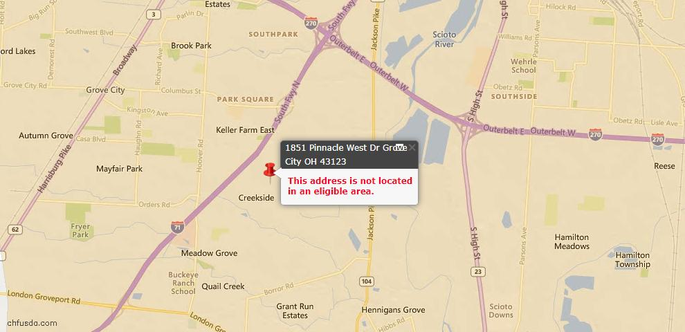 USDA Loan Eligiblity Map - 1851 Pinnacle Dr W, Grove City, OH 43123