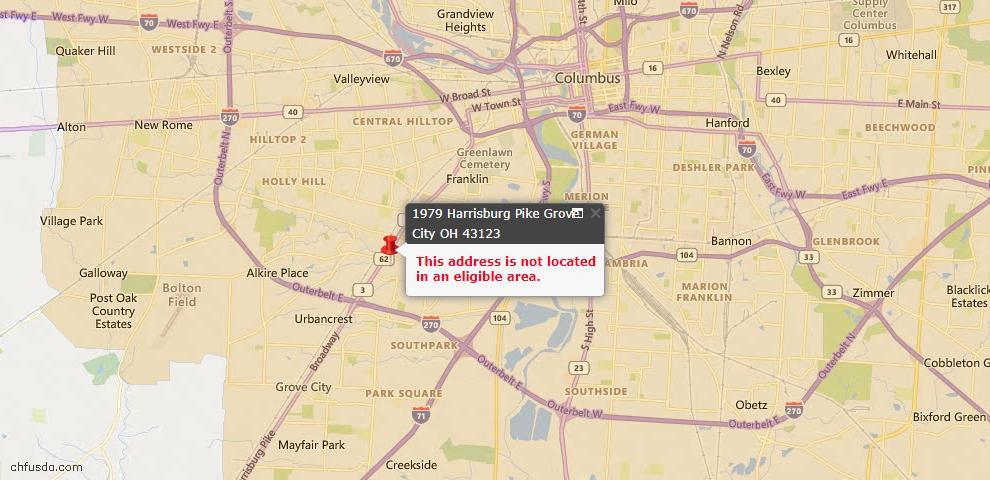 USDA Loan Eligiblity Map - 1979 Harrisburg Pike #981, Grove City, OH 43123