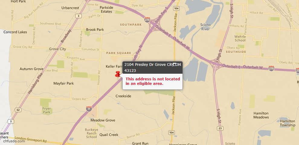 USDA Loan Eligiblity Map - 2104 Presley Dr, Grove City, OH 43123