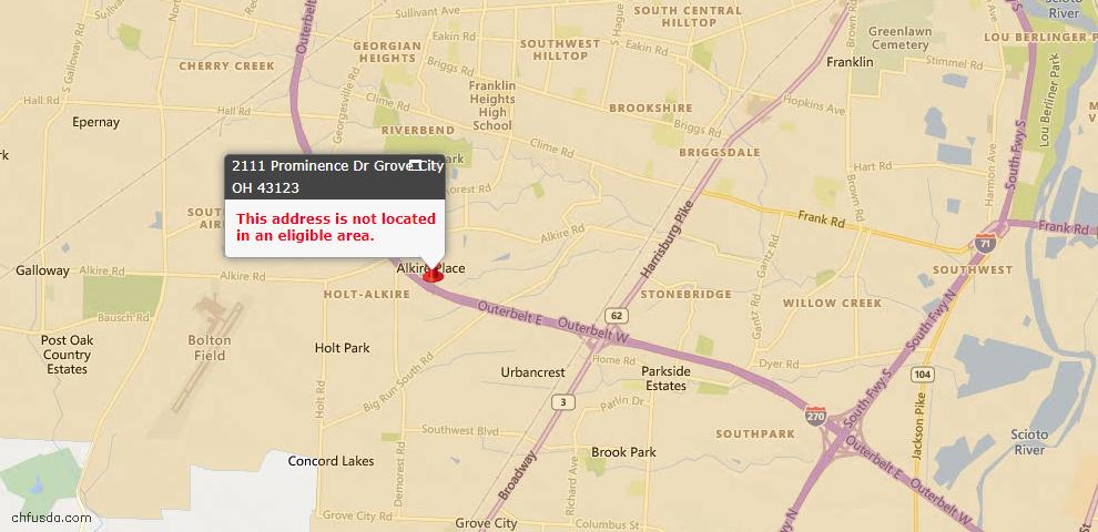 USDA Loan Eligiblity Map - 2111 Prominence Dr, Grove City, OH 43123