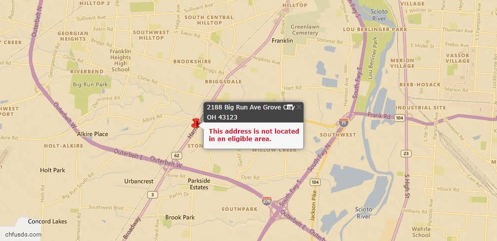 USDA Loan Eligiblity Map - 2188 Big Run Ave, Grove City, OH 43123