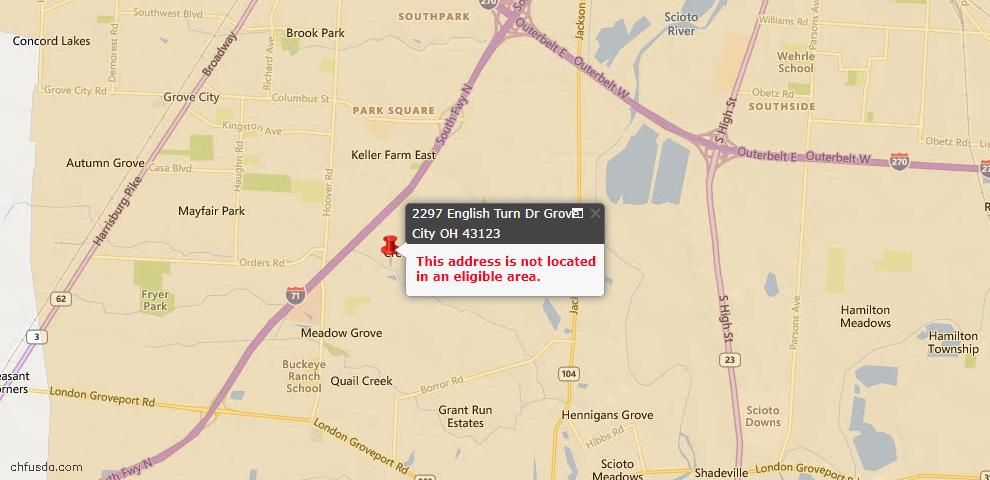 USDA Loan Eligiblity Map - 2297 English Turn Dr, Grove City, OH 43123