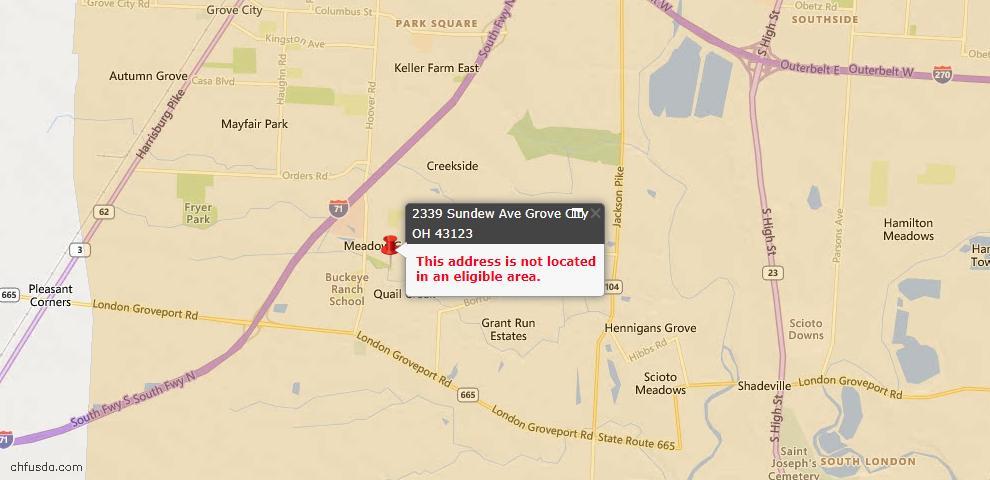 USDA Loan Eligiblity Map - 2339 Sundew Ave, Grove City, OH 43123