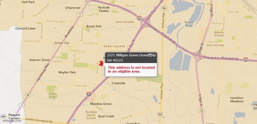 USDA Loan Eligiblity Map - 2371 Milligan Grv, Grove City, OH 43123