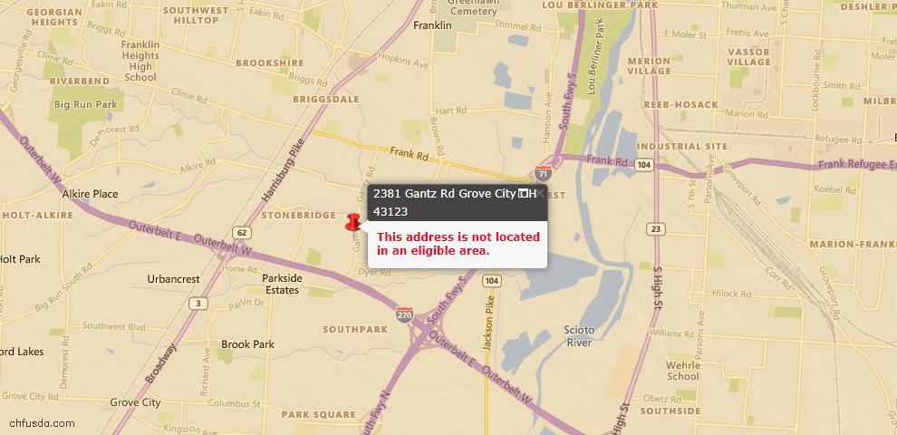 USDA Loan Eligiblity Map - 2381 Gantz Rd, Grove City, OH 43123