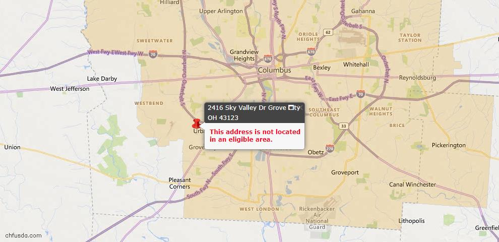 USDA Loan Eligiblity Map - 2416 Sky Valley Dr, Grove City, OH 43123